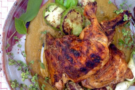 Peach Mole with Grilled Chicken and Chayotes Recipe
