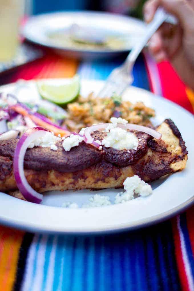 Creamy Chicken Enchiladas with Jamaica Mole Recipe