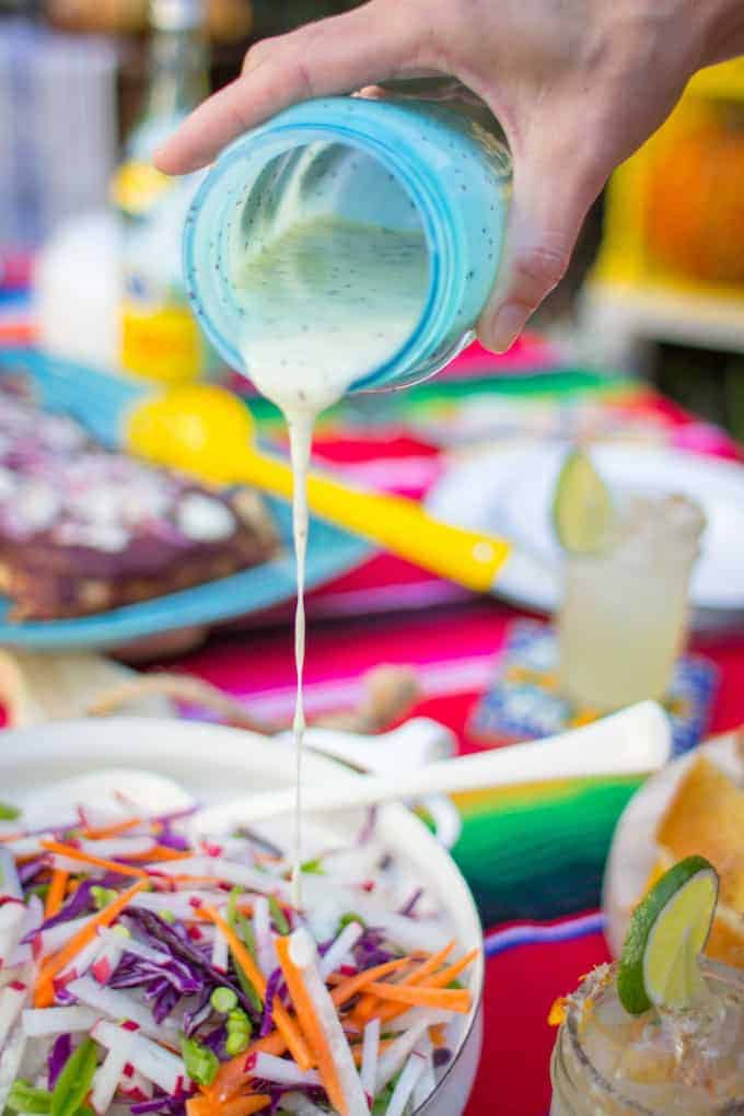 Rainbow Jicama Salad with Poppy Seed Dressing Recipe. Latin recipe, healthy Latin food, vegetarian Latin recipe, jicama recipe. #healthylatinfood #latinrecipe #jicamarecipes #jicamasalad