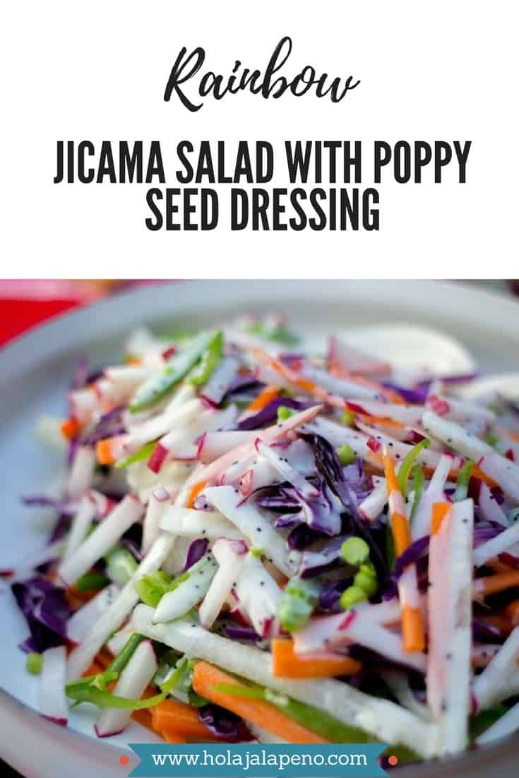 A colorful and crunchy combination of jicama, sugar snap peas, radishes, and red cabbage tossed with a creamy (but dairy free) poppy seed dressing. Healthy Latin recipe, jicama recipe, what to do with jicama. #jicamarecipe #healthylatinfood #healthylatinrecipe #healthysaladrecipe