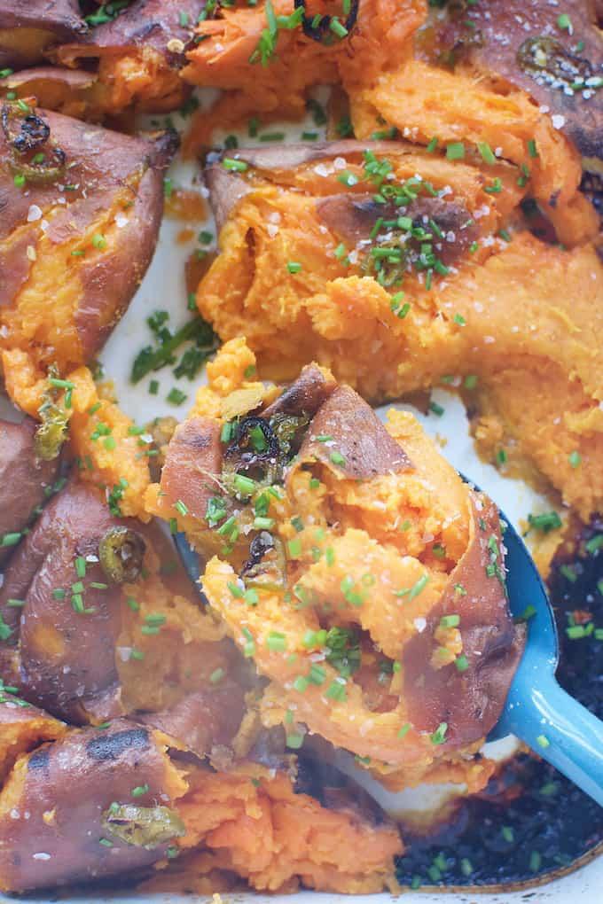 Blistered Sweet Potatoes Recipe