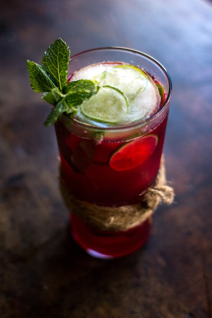 Cranberry Agua Fresca with Fresh Mint and Lime