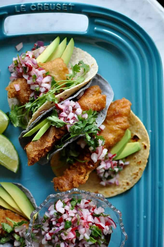 10 Best Recipes-Fish Tacos with Radish Pico de Gallo Recipe from @holajalapeno