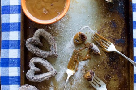 Chocolate Churro Hearts with Boozy Dulce de Leche Recipe from @holajalapeno
