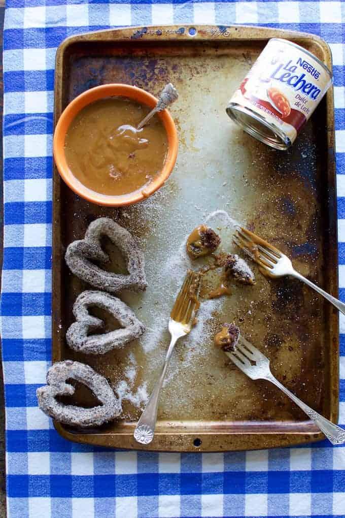 Chocolate Churro Hearts with Boozy Dulce de Leche Recipe from @holajalapeno