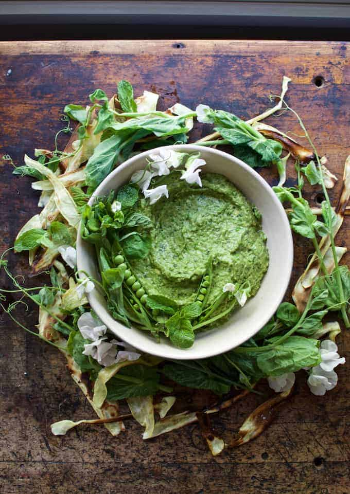 Mint and pea guacamole may seem odd at first but the two flavors are naturals with ripe avocado. Try it for Cinco de Mayo when fresh peas are at their peek!