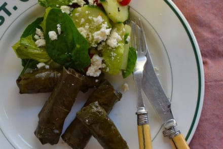 These meat-stuffed grape leaves make a tasty appetizer or the spotlight to a special dinner with warm pita bread, lemony cucumber salad, and creamy hummus.