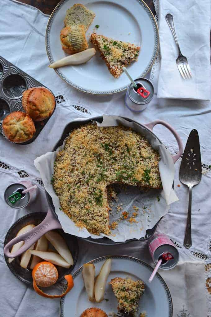 This Savory Chorizo Breakfast Cake is your new favorite brunch dish, filled with spiced Mexican chorizo & Gruyere cheese and topped with crispy breadcrumbs.
