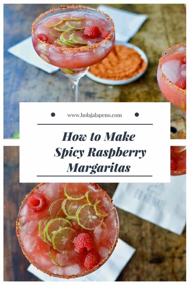 This Spicy Raspberry Jalapeño Margarita made in honor of #MargaritaWeek is a fruity, fiery blend of sweet raspberries, fresh jalapeños, tequila, and lime juice that can easily be made into a boozy, big-batch cocktail for Cinco de Mayo or any celebration. #margaritaweek #margaritarecipe #spicymargarita