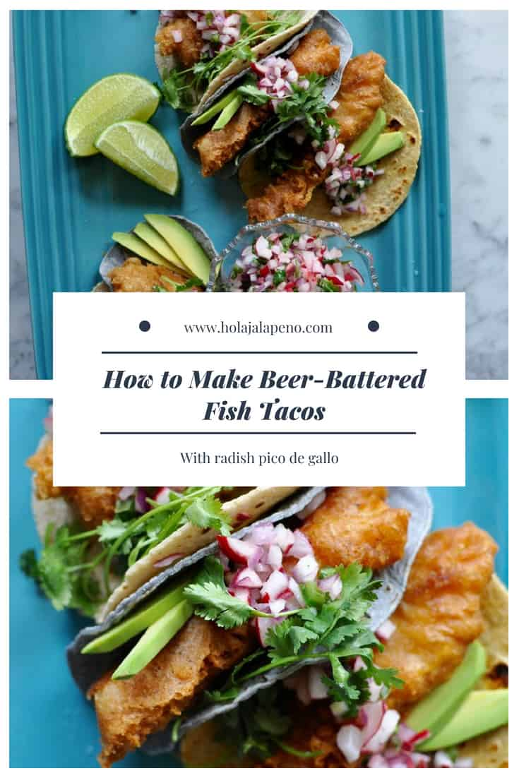 Beer-battered fish tacos are light and crispy and topped with a crunchy radish pico de gallo, avocado slices, and a squeeze of lime. Delicious & dairy free! #fishtacos #friedfishtacos #fish #tacosrecipe #radish #bajastylefishtacos