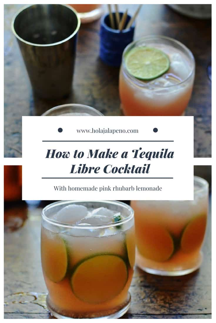The Tequila Libre cocktail embraces the free-flowing spirit of summer with tequila, ginger beer, and homemade pink rhubarb lemonade. #tequila #cocktailrecipe #lemonaderecipe #summercocktail