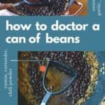 Photo collage of black beans in a pan with a potato masher and a text overlay.