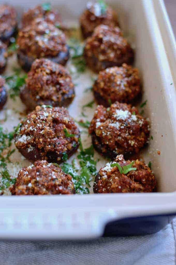 Theses Chorizo and Walnut Stuffed Mushrooms use walnuts and cheese instead of breadcrumbs, making them extra special, super indulgent party food. #stuffedmushrooms #chorizo #mushrooms #beststuffedmushrooms #chorizostuffedmushrooms