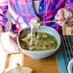 We're taking your favorite Instant Pot Pork Chili Verde recipe up a notch with handfuls of melty mozzarella cheese in each bowl for supreme pork chili verde status.