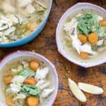 Chicken and Leek Soup with Lemon-Carrot Top Pesto