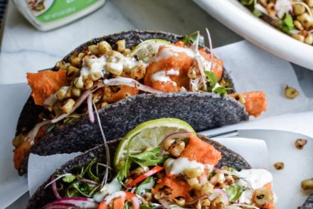 Baked Wild Alaskan Cod Tacos make the BEST healthy Mexican recipe. Stuffed into crispy blue corn tortilla shells and topped with a toasted corn salad. #ad #ortega #holajalapeno #fishtacos #codtacos