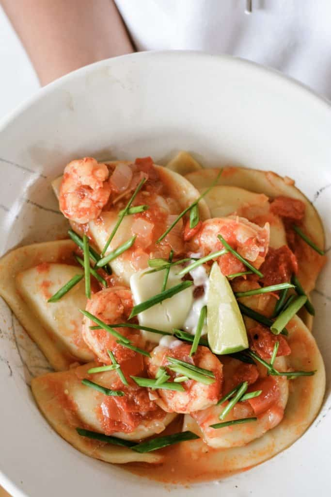 How to make Tequila Lime Shrimp with Pierogies. With a spectacular tequila-tomato sauce with lime, chile, shrimp and Mrs. T's Sour Cream and Chive Pierogies. #ad #MrsTPierogies #holajalapeno #pierogies #shrimprecipe #tequilashrimp