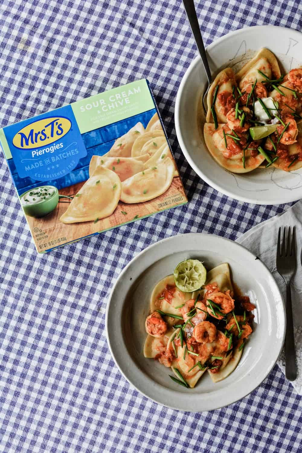 #ad| A quick delicious meal of the under 30 minutes variety, Tequila Lime Shrimp and Pierogies with @MrsTsPierogies. #holajalapeno #MrsTsPierogies #shrimp