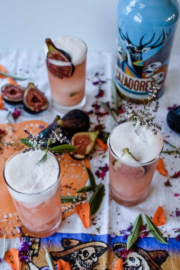 Spiced Fig Tequila Sour Cocktails to celebrate Day of the Dead. #tequila #ad #holajalapeno #cazadores
