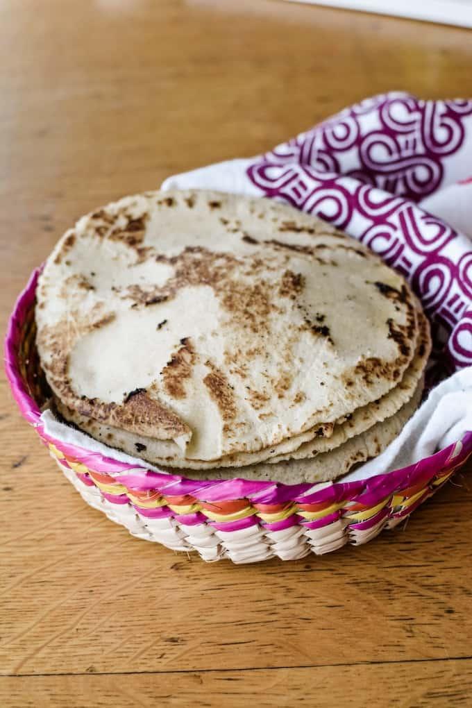 Fresh, homemade Pink Salt Tortillas. #ad #holajalapeno #corntortillas