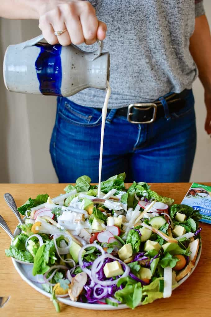 Easily recreate restaurant style ranch dressing at home with this super simple recipe. #sponsored #HVRlove #holajalapeno #choppedsalad