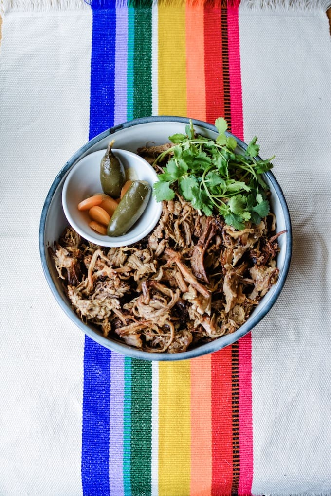 #ad| A Pork Carnitas Recipe that will blow your mind with tender meat and crispy edges all made in one pot thanks to the new Instant Pot Duo Crisp + Air Fryer. #holajalapeno #instantpot #porkcarnitas