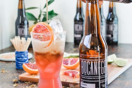 Here it is the ultimate winter margarita you've been waiting for! This Beergarita is made with fresh blood orange juice, ice cold beer, and tequila—duh. #beergarita #holajalapeno #superbowl #beermargarita