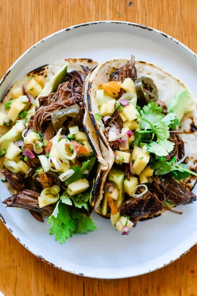 mango salsa with beef tacos