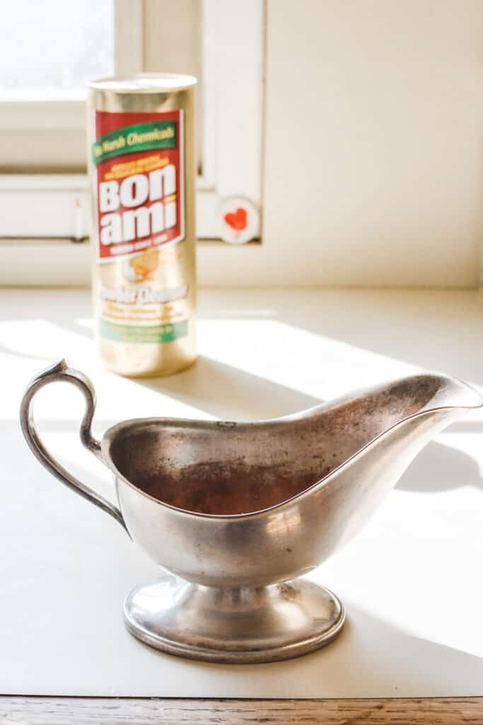 After 5 minutes of scrubbing with Bon Ami, my sterling silver is so much cleaner. #kitchenhacks #cleaninghacks