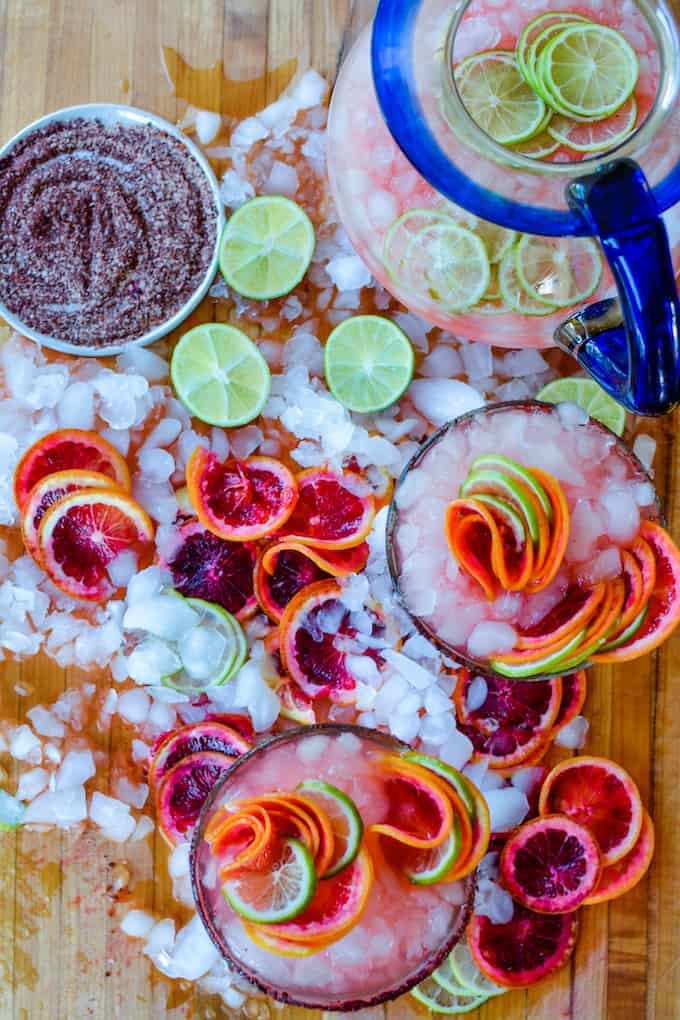 National Margarita Day deserves a fizzy Blood Orange Margarita! Celebrate with Tequila Cazadores {ad} and this exceptional margarita. #mexicanrecipe #tequila #homemade #margarita #bloodorange