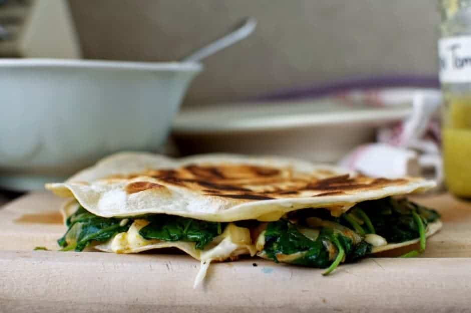 Mexican dinner ideas like these Roasted Squash and Kale Quesadillas are easy and made with ingredients you already have in you pantry and fridge. Click now for 12 more ideas!