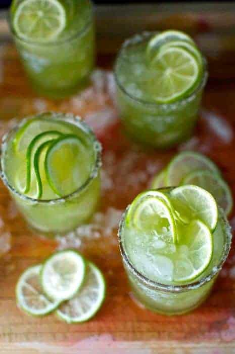 A Cucumber Mezcal Margarita is the perfect pitcher cocktail for a Stay-at-Home Cinco de Mayo Party. Makes 4 drinks! #cincodemayo #margarita #mezcal #cucumbermargarita