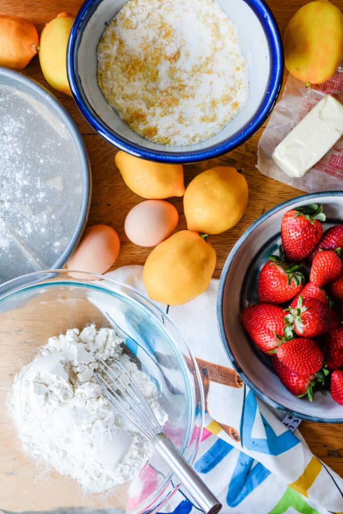 Meyer lemons make this Tres Leches Strawberry Shortcake extra special but you can substitute regular lemons or even oranges in this recipe. Make it for a special treat. #strawberryrecipes #shortcake #meyerlemon #lemonrecipes