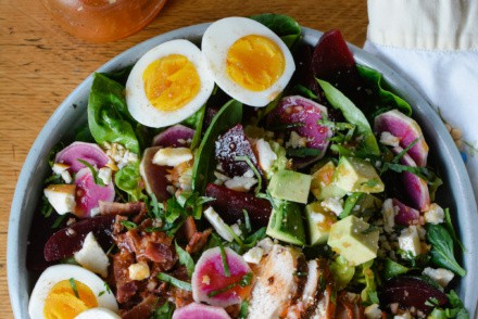 Autumn Harvest Cobb salad recipe with roasted beets and watermelon radish tossed in a tangy red wine vinegar dressing with smoked paprika, shallots and mustard. Top with crumbled feta, or keep it dairy-free! #cobbsalad #cobbsaladrecipe #fallsalad #salad