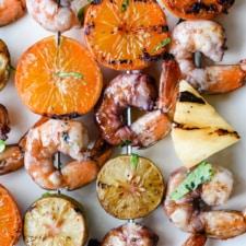 Sangria-Marinated Grilled Shrimp Skewers