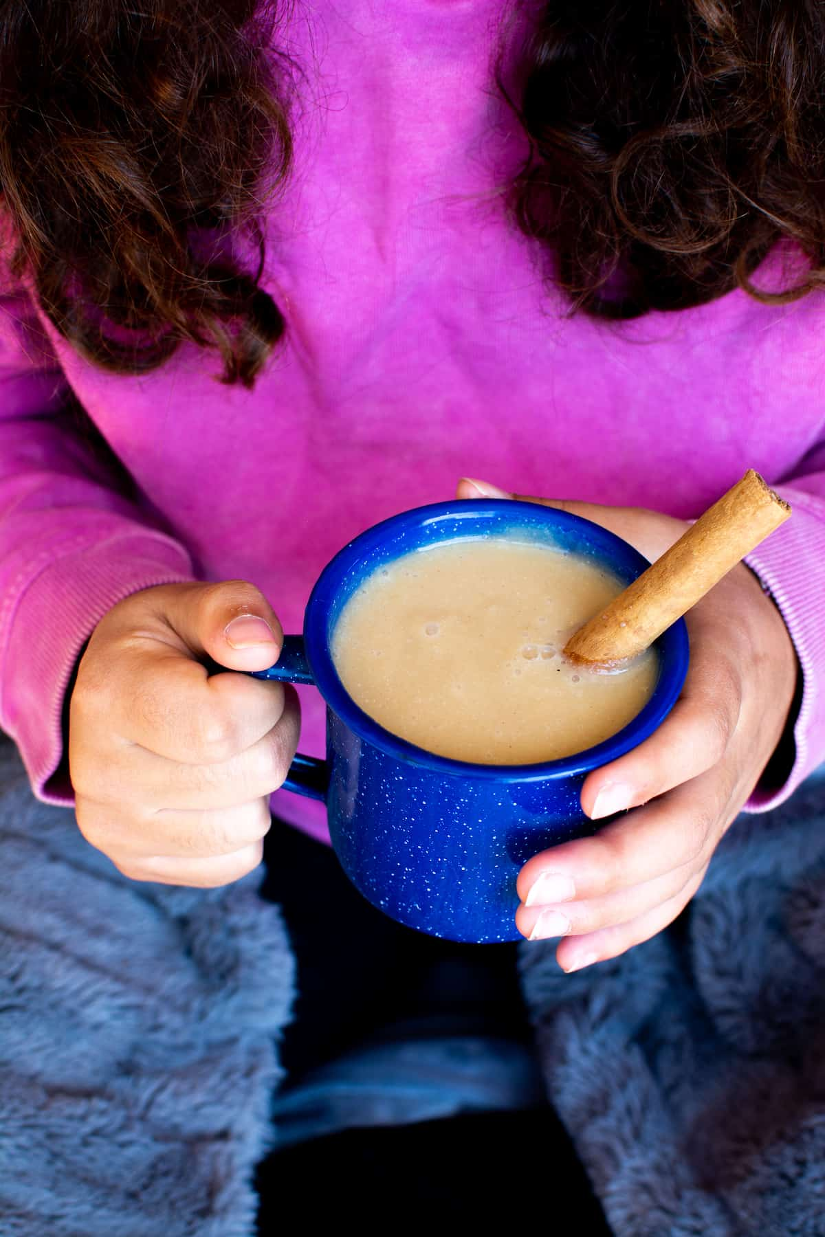 How to make Atole at home! This warm Mexican drink combines cinnamon, piloncillo, and masa harina for a creamy warming cup of comfort. Use plant-based milk for a vegan alternative. Great for breakfast, a snack, or lovely way to wind down at the end of the day. #atole #veganrecipe #Mexicanatole #glutenfreerecipe