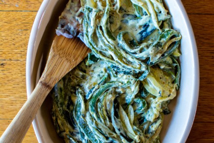 Rajas con Crema are roasted poblano peppers cut into strips and sautéed with onions, garlic, and Mexican crema. They can be served as a filling for tacos, tamales, quesadillas, and more! Simple, comforting, and gluten-free! #rajas #rajasconcrema #mexicandishes #poblanochiles